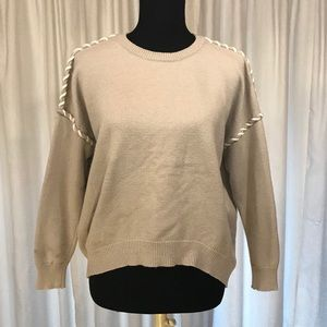 Romeo+Juliet Couture Sweater Taupe Small Patchwork
